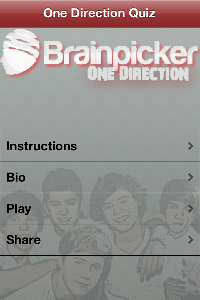 Screenshot BrainPicker : One Direction